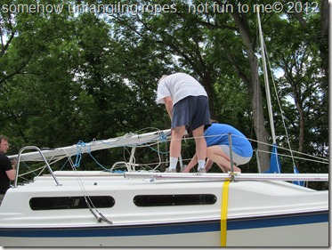 helping put the sailboat in the Lake 008